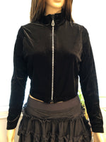 Smooth Vevet Rhinestone Zipper Jacket