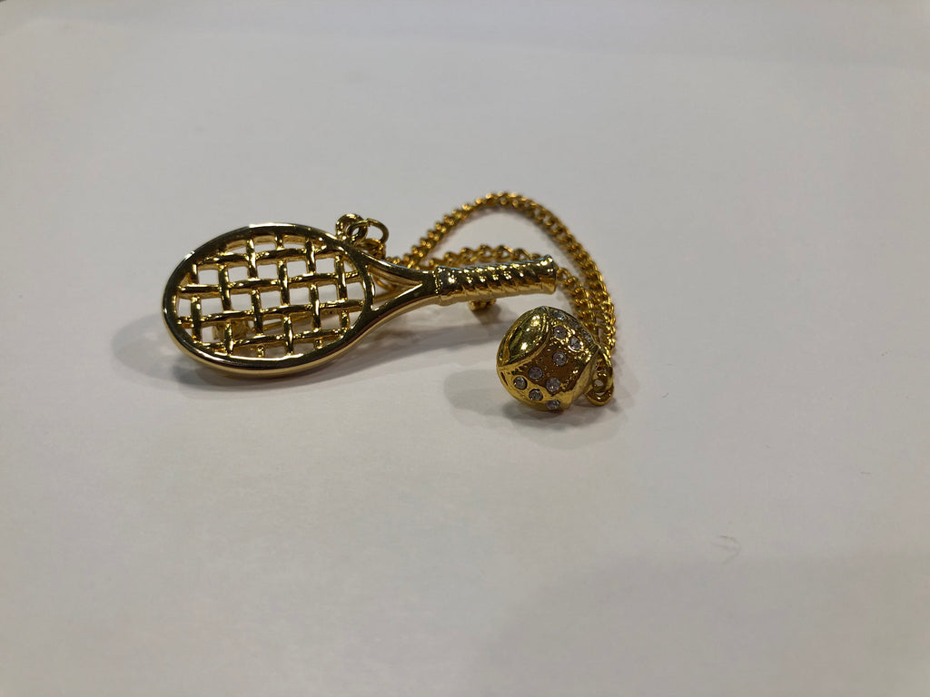 Gold Tennis Racquet & Ball Pin