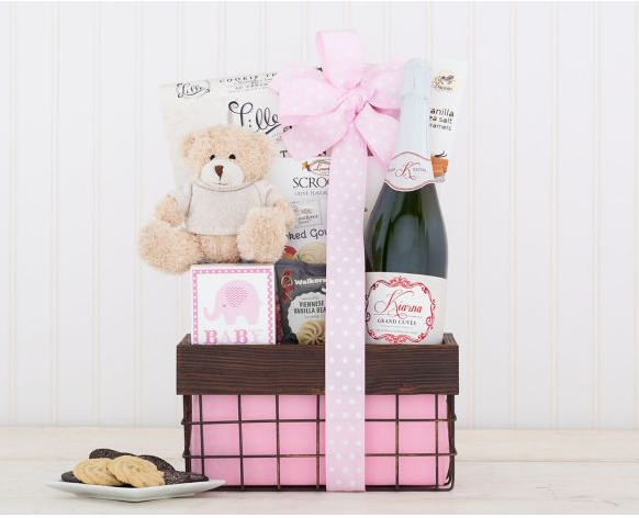 It's a Girl Sparkling Rose Gift Basket