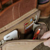 Everywhere Laptop Backpack Tan Front Organizer Pocket Detail