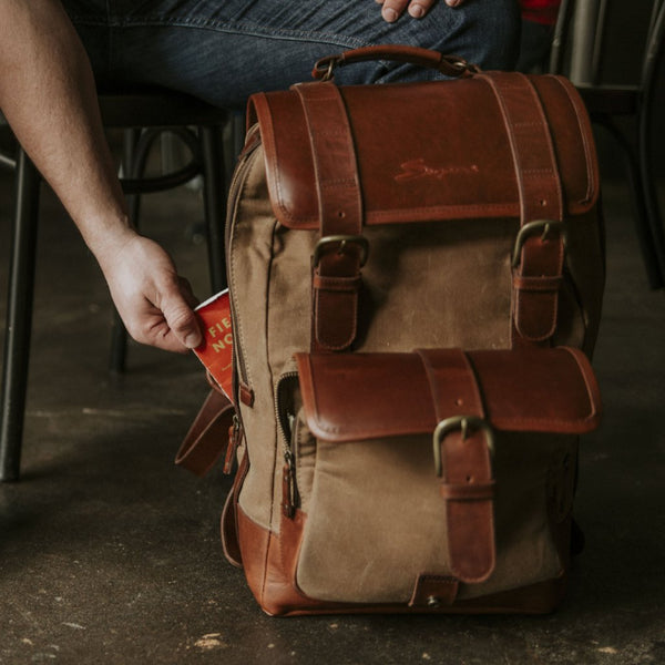 Everywhere Laptop Backpack Tan Side Zipper Pocket Detail