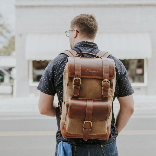 Everywhere Laptop Backpack Tan being worn