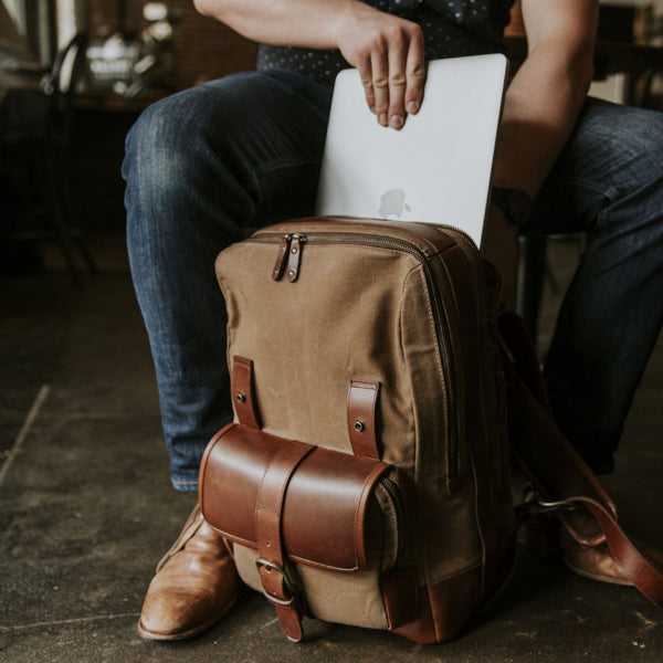 Everywhere Laptop Backpack Tan Padded Laptop Compartment