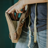 Medium Crossbody Wallet Purse in Tan zipper and stripe lining detail