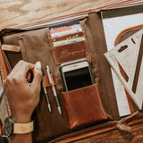 Leather Tablet Organizer with Handles interior organization details