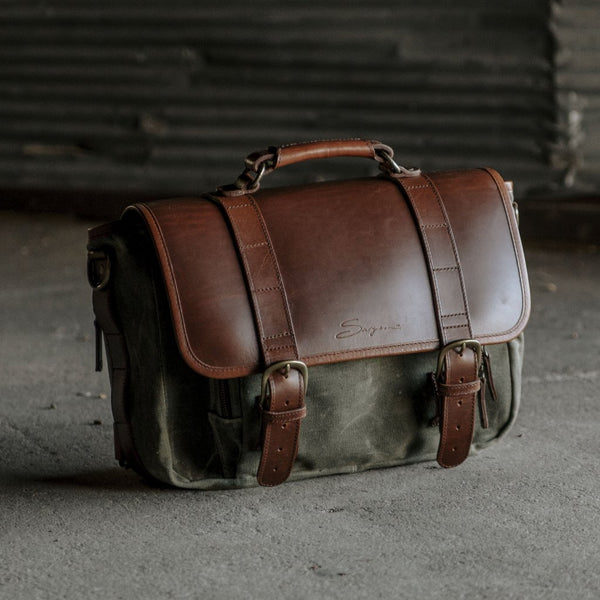 Everyday Carry Laptop Messenger Bag in Olive 3/4 view