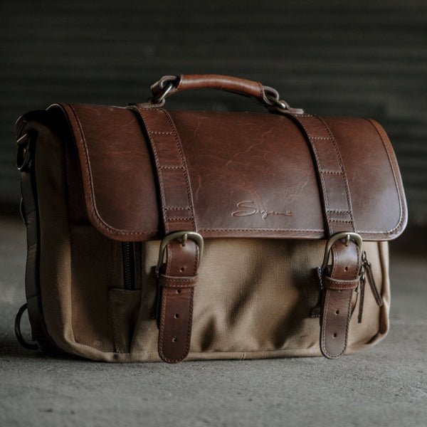 Everyday Carry Laptop Messenger Bag in Tan 3/4 view