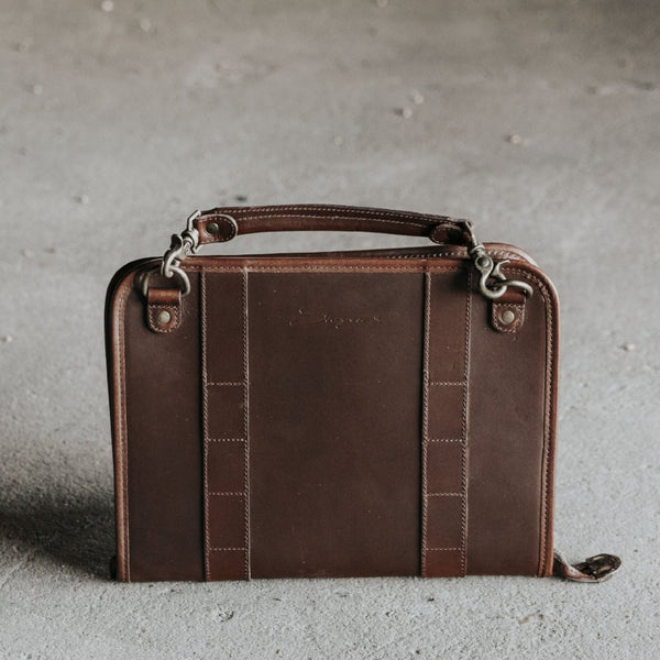 Leather Tablet Organizer with Handles in Dark Brown