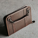 Leather Tablet Organizer with Handles in Dark Brown 3/4 view