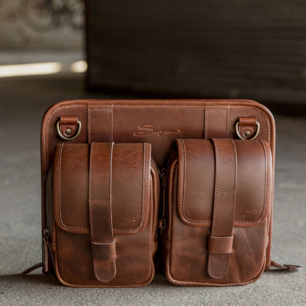Leather Tablet Organizer with Modular Pocket Set Attached