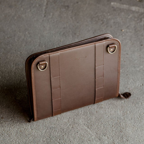 Leather Tablet Organizer in Dark Brown 3/4 view