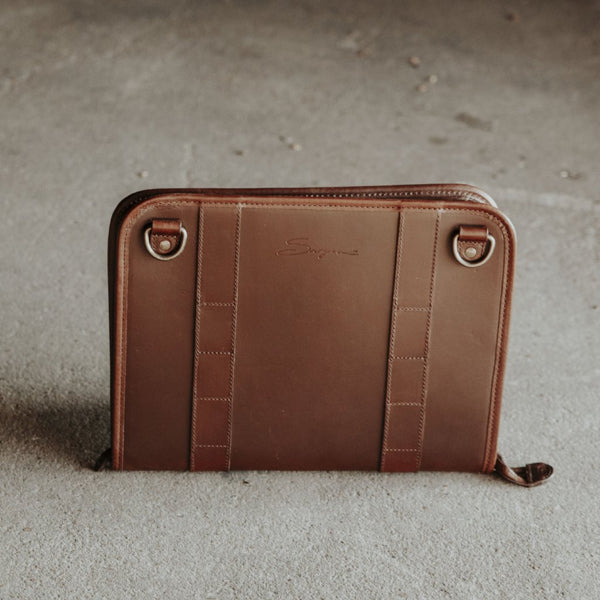 Leather Tablet Organizer Mahogany Front View