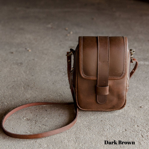Mini Leather Crossbody Wallet Bag in Dark Brown with Strap