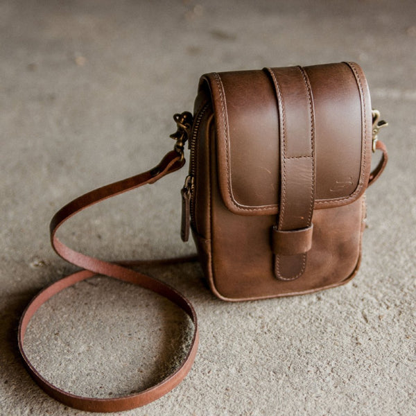 Mini Leather Crossbody Wallet Bag in Dark Brown 3/4 view