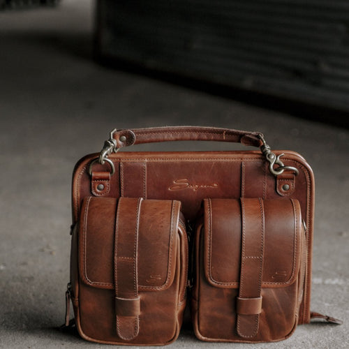 Leather Modular Pocket Set Mahogany attached to Tablet Organizer