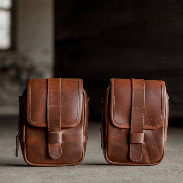 Leather Modular Pocket Set Mahogany Front View