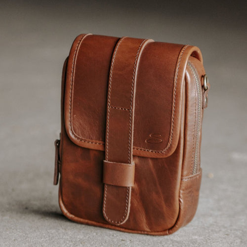 Leather Modular Pocket Mahogany Front
