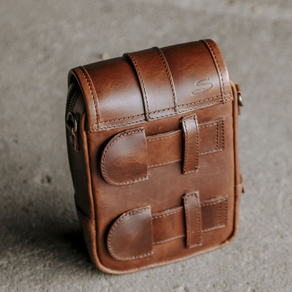 Leather Modular Pocket in Mahogany back view with attachment straps