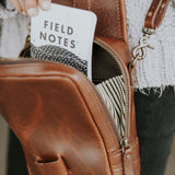 Mini Leather Crossbody Wallet Bag in Mahogany side stripe lining detail