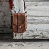 Mini Leather Crossbody Wallet Bag in Mahogany Front View