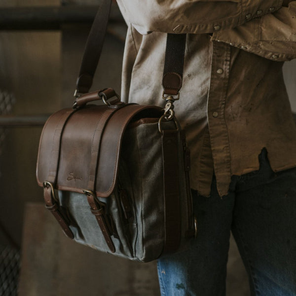 Everyday Carry Laptop Messengenger Bag being worn in Charcoal
