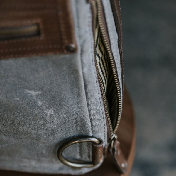 Everyday Carry Laptop Messenger bag side zipper pocket detail