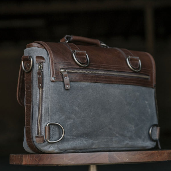 Everyday Carry Laptop Messenger bag back view in Charcoal
