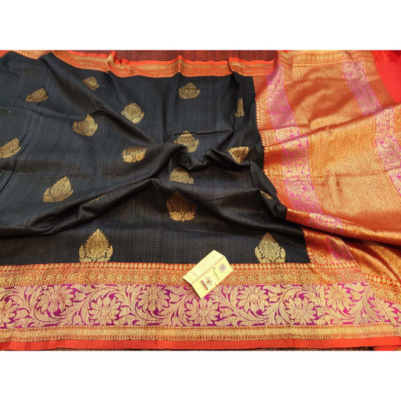 Black colored Pure Dupion silk Banarasi saree perfect as a party wear