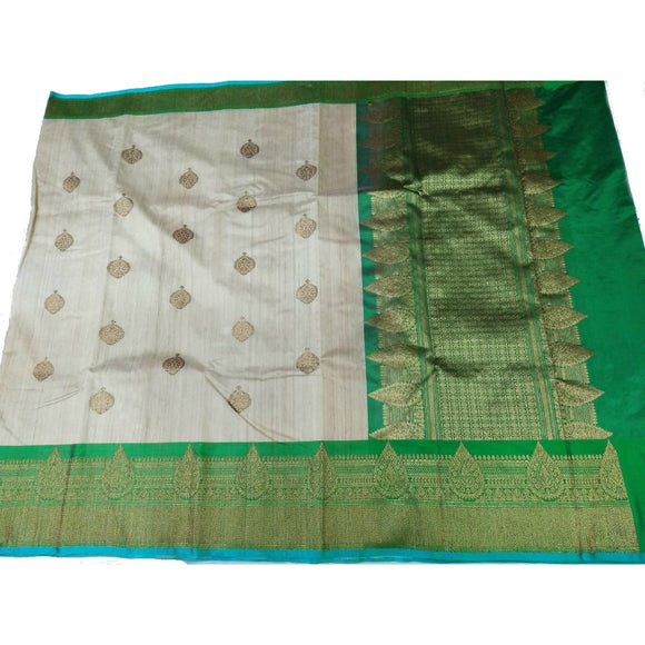 Pure Tussar silk handwoven saree with green border
