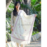Pure Eri silk Assamese Stole with hand embroidery in pink