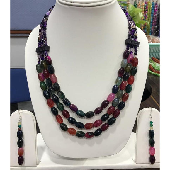 Multi-colored Tribal Naga vintage Necklace made of Onyx Beads