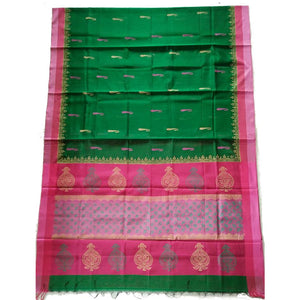 Printed in green handwoven silk cotton Maheshwari Saree