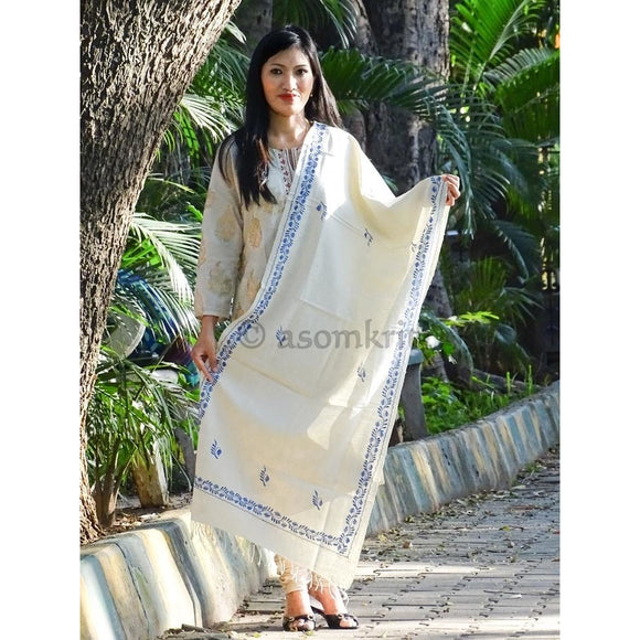 Natural eri silk colored pure Eri silk Assamese Stole with hand embroidery in blue