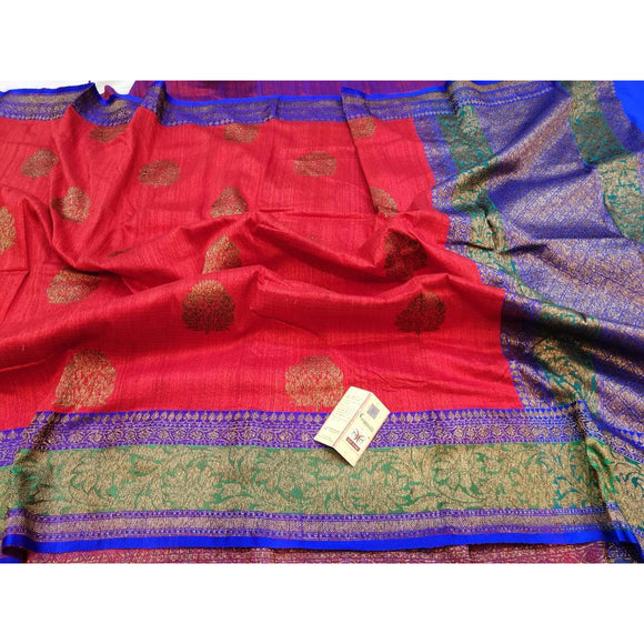 Tomato red Pure Dupion silk Banarasi saree perfect as a party wear