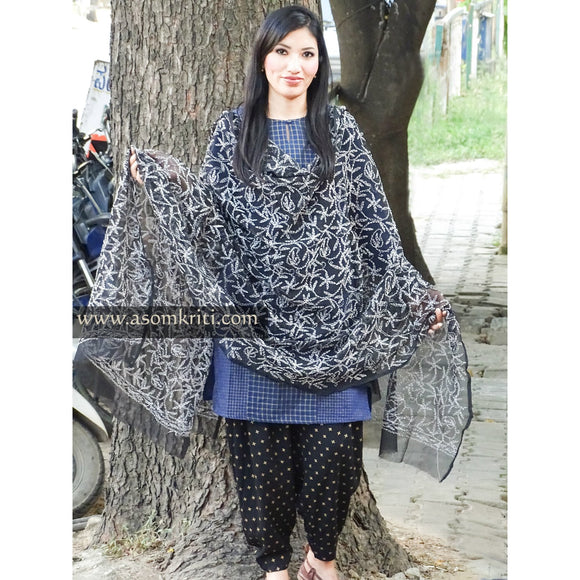 Black colored Lucknow Chikankari dupatta with intricate allover Tepchi work