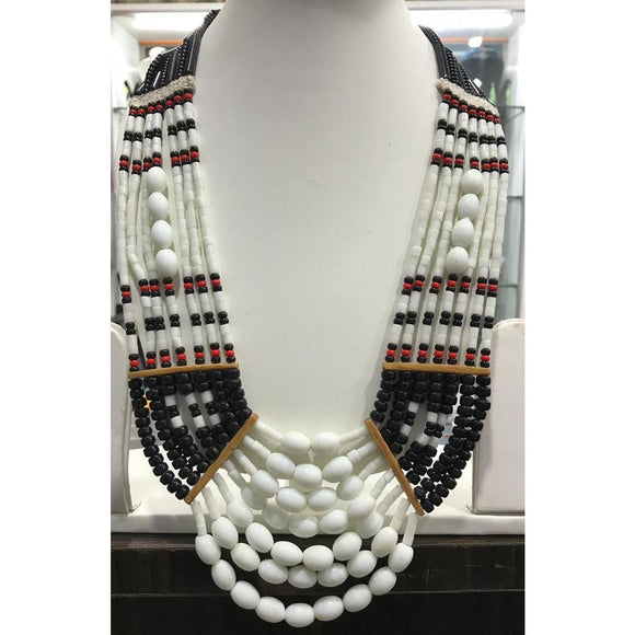 Black & white handmade Tribal Naga Necklace made of high quality glass Beads