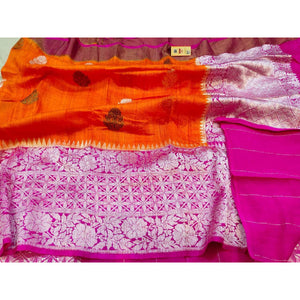 Reddish orange party wear Banarasi weave saree in khadi silk with silk mark