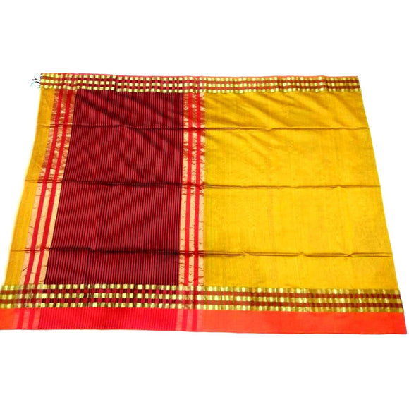 Bright yellow silk cotton Maheshwari Saree with plain body and zari border
