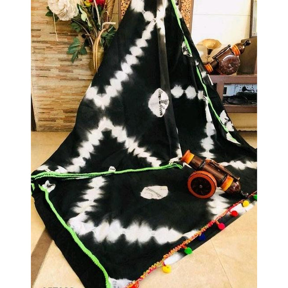 Black & white soft mulmul cotton saree for a comfort wear