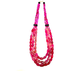 Pink Tribal Necklace made of Stone Onyx Beads