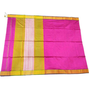 Hot pink silk cotton Maheshwari Saree with plain body and zari border