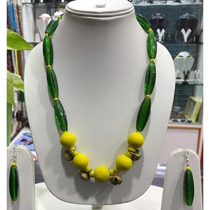 Yellow colored tribal Naga Necklace made of premium beads