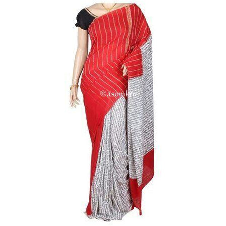 Red and printed white half and half Khesh cotton handloom saree