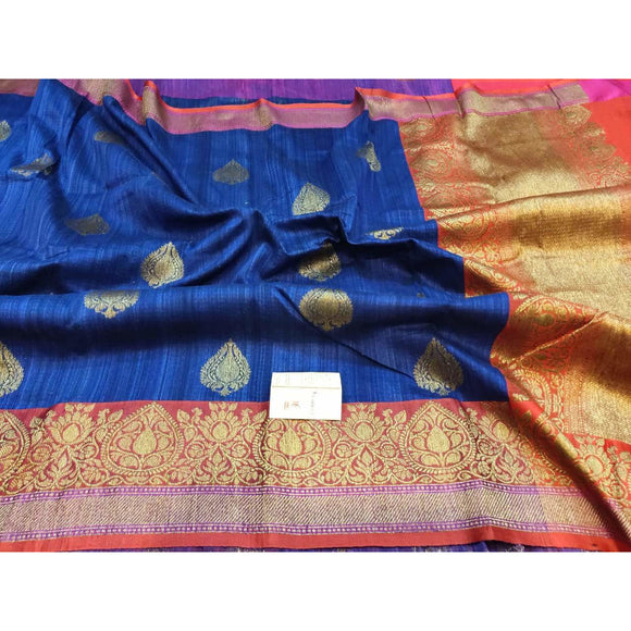 Royal blue colored pure Dupion silk Banarasi saree