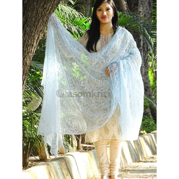 Blue colored Lucknow Chikankari dupatta with intricate allover Tepchi work