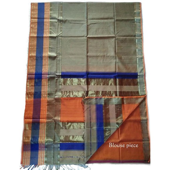 Handwoven silk cotton Maheshwari Saree with zari golden border