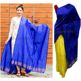 Royal blue colored single chadar cum dupatta in semi paat silk