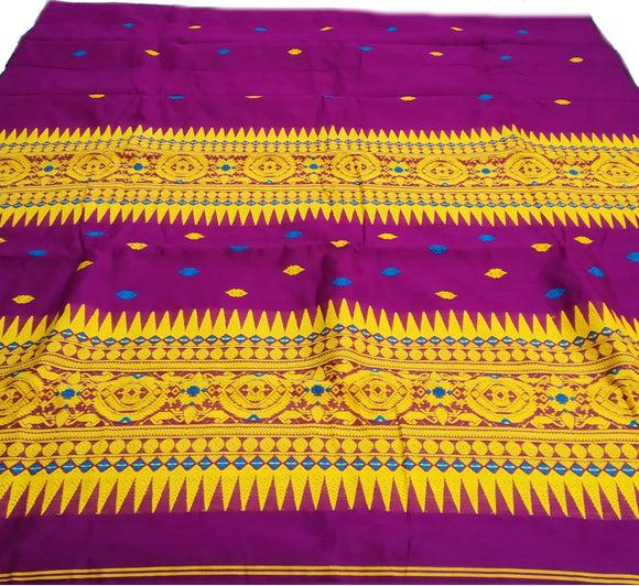Assam cotton saree with Bodo Tribal Aronai design motif in magenta