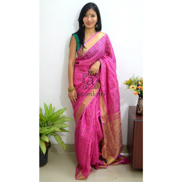Rani pink checked linen Saree