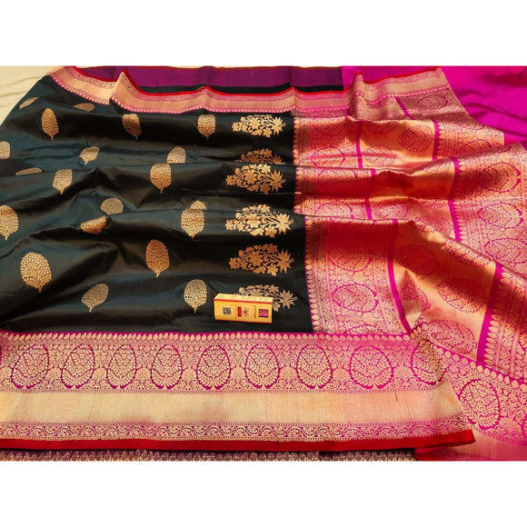Black colored pure katan silk party wear Banarasi weave saree with silk mark